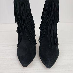 0a0d5496540 Steve Madden Shoes - Steve Madden Flapper Booties Black Suede Fringe